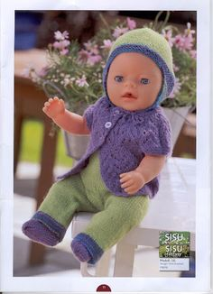 Album Archive - Dukketøj til Baby Born 2 - Ingelise Knitted Doll Patterns, Knitted Dolls, Baby Knitting Patterns, Knitting Dolls Clothes, Doll Clothes Patterns, Clothing Patterns, Reborn Dolls, Baby Dolls, Baby Born Clothes