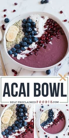 Acai bowls are a quick, easy, nutritious and healthy breakfast recipe packed ful. Acai bowls are a quick, easy, nutritious and healthy breakfast recipe packed full of delicious super foods. It's a vegan smoothie in a bowl with toppings! Smoothie Bowl Vegan, Smoothies Vegan, Smoothie Bol, Smoothie Fruit, Smoothie Recipes, Homemade Smoothie Bowl, Acai Bowl Recipes Vegan, Healthy Superbowl Snacks, Vegetarian Food