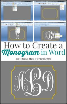 Learn how to create a Monogram in Word! Vinyl Projects, Craft Projects, Bouquet Pastel, Microsoft Word Free, Microsoft Office, Microsoft Excel, Filofax, How To Make Labels, Monogram Fonts