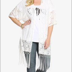 NWT torrid size 4/5 lace kimono with fringe NWT torrid size 4/5 lace kimono with fringe . Lightweight comfy fit torrid Tops