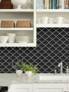 black moroccan tile with white grout