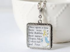 Peter Rabbit Necklace inspired by the classic Beatrix Potter Book, The Tale of Peter Rabbit By CSLiteraryJewelry on Etsy #BeatrixPotter #PeterRabbit #ChildrensBook