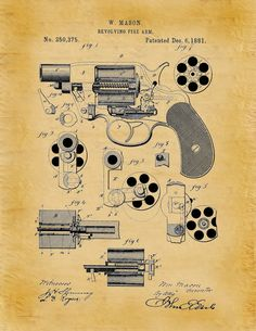 1881 Revolver Patent Designed by William by BlueMoonPatentPrints