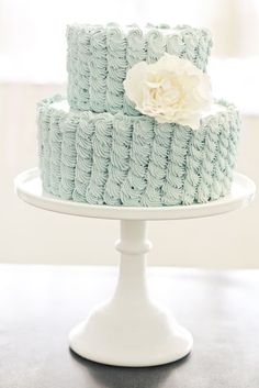 Light Blue Scalloped Swirl Piping with Sugar Flower. Wedding Cakes Gallery « Sweet & Saucy Shop Sweet & Saucy Shop