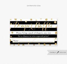Black White Diaper Raffle Invitation Insert - Printed or Printable, Baby Shower Gold Glitter Confetti Library Striped Modern Kate -
