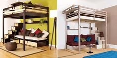 bunks bed with sofa and storage below
