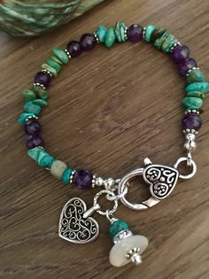 Amethyst and turquoise chip bracelet , February birthday , turquoise bracelet , charm bracelet Turquoise Jewelry, Boho Jewelry, Gemstone Jewelry, Turquoise Bracelet, Beaded Jewelry, Jewelry Bracelets, Jewelry Ideas, Ankle Bracelets, Jewelry Crafts