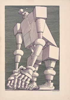Illustration by Polish artist Daniel Mróz for Stanislaw Lem's Cyberiada, (I featured another one a few days ago. The Man Machine, Ap Drawing, Les Oeuvres, Graphic Illustration, Science Fiction, Robot, Literature, Sci Fi, Digital Art