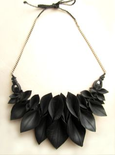 Autumn Leaves upcycled inner tube necklace by Har1equinRose, £14.00