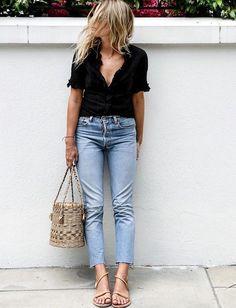 Street Style : Jean coupé court sur la cheville très fins nu-pieds = le bon mix (photo Lucy