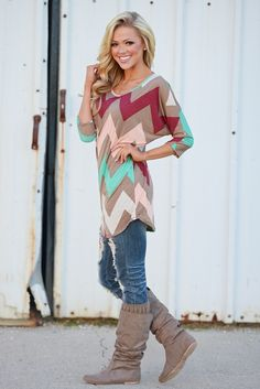 Wanna Look Good For You Chevron Tunic - Mocha from Closet Candy Boutique