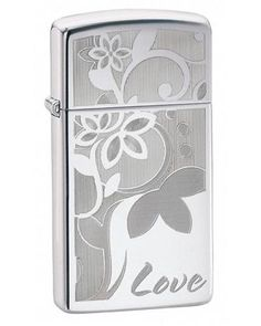 Zippo Slim Love High Polish Chrome Lighter - Oxeme Gifts
