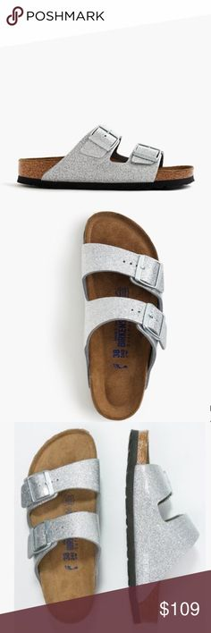 Birkenstock® Sandals in Magic Galaxy Silver Brand new. With tags and box. This cool, glittery pair features their classic cork footbed that molds to your feet. Synthetic leather/glitter upper. Suede lining. EVA sole. Birkenstock Shoes Flats & Loafers