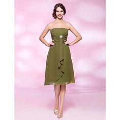 A-line Strapless Knee-length Chiffon Beaded Cocktail Dress – AUD $ 114.39