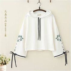 Japanese Bamboo Embroidery Bowknot Sleeves Hoodie - Japanese Bamboo Embroidery Bowknot Sleeves Sweatshirt Best Picture For college outfits For Your T - Teen Fashion Outfits, Mode Outfits, Casual Outfits, Fashion Dresses, Casual Bags, Kawaii Fashion, Cute Fashion, Girl Fashion, Fashion Design