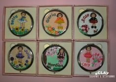 compact mirror / flowers / polymer clay / handcrafted