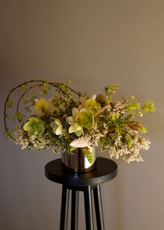 Gorgeous sculptural arrangement with hellebore | Clare Day Flowers