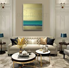 Paintings on canvas Original abstract painting Contemporary art Abstract art Large acrylic painting Abstract painting Gold Blue White Home - Architecture - yacht Home Living Room, Living Room Designs, Living Room Decor, Flur Design, Elegant Living Room, Modern Living, Interior Decorating, Interior Design, Modern Interior