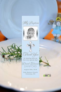 Baptism Favors Boy Blue Silver Cross Book Mark Favors by starwedd
