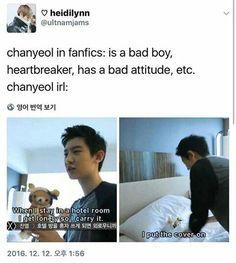 EXO memes, photos etc. - all about EXO. I invite you! Exo Memes, Funny Kpop Memes, Kdrama Memes, Funny Texts, Chanyeol Baekhyun, Park Chanyeol, Kpop Exo, Baekyeol, Chanbaek
