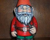 Ceramic garden or lawn gnome hand painted 8 1/2 inches