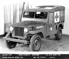 1951 Jeep Willys Ambulance, 62 years on and the current Jeep Wrangler is sporting an almost identical grill, headlight + indicators. Forever a classic.    www.belcar.com.au