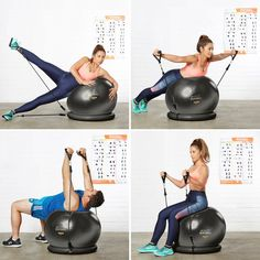 Exercise Ball Chair & Complete Home Gym System - Improves Balance, Core Strength & Posture AFFORDABLE HOME FITNESS: Why join the gym? Here's everything you need for core-strength training, Pilates, CrossFit, etc. Pilates Abs, Pilates Training, Pilates Workout, Pilates Solo, Band Workout, Workout Exercises, Fitness Ball Exercises, Workout Tanks, Workout Gear