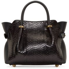 Nina Ricci Black Python Baby Marche Tote (3,375 CAD) ❤ liked on Polyvore featuring bags, handbags, tote bags, zipper pouch, black leather tote, leather pouch, zippered tote and black leather purse
