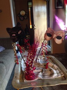 Masquerade party table decorations