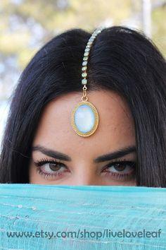 Mint crystal Tikka Maang Forehead Jewelry Indian Bridal wedding headpiece
