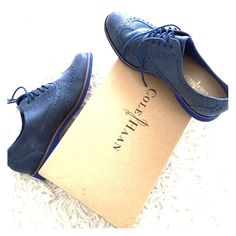 Cole Haan Alisa Oxford Cobalt blue wing tip oxfords barely worn.  Sold out at most retailers! Goes great with skinnies and a blazer. Men's style is all the rage! Cole Haan Shoes