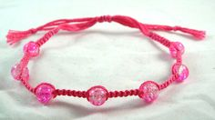 Dainty Modern Pink Beaded Micro Macrame Friendship Bracelet by HeartMesaGifts