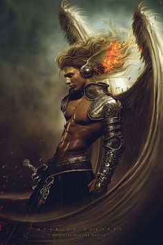 Now that would be a cool way to see Branan in 'The Tiefling: Angel Kissed, Devil Touched'. Celestial Warrior Gabriel by Carlos-Quevedo on deviantART Elfen Fantasy, Fantasy Anime, Fantasy Kunst, Fantasy Male, Fantasy Warrior, Dark Warrior, Angels Among Us, Angels And Demons, Male Angels
