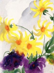 Yellow and Violet Dahlias - Emil Nolde - The Athenaeum