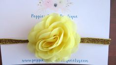 Yellow Flower Headband Baby Headband by PoppiesnLaceBowtique