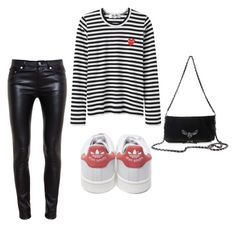 """""""Stripes"""" by trendsy ❤ liked on Polyvore featuring Yves Saint Laurent, Converse, adidas and Zadig & Voltaire"""