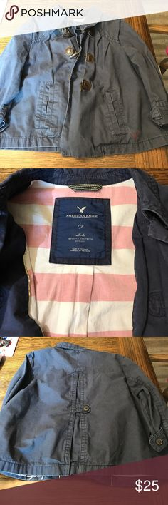 American Eagle Outfitters jacket Like new worn a couple times American Eagle Outfitters blazer. Navy blue size large. Has 3 toggle closures and a button at the top for the front closure. 3/4 sleeves with adjustable buttons and a button closure on the back for decoration. Super cute jacket for a chilly night! American Eagle Outfitters Jackets & Coats Blazers