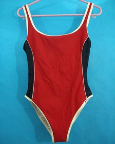 4bdc3f3f46a Red White Blue Vintage Jantzen One Piece Bathing Suit Size 10 Ribbed High  Leg thin bra padding