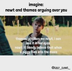 I literally just died omg<<<*Thomas grabs pig from animal pens* *climbs to the top of the walls* *throws pig into the glade* *Thomas yells to Newt* You believe me now!* *Newt: I said in the maze not the glade you bloody idiot! Maze Runner Funny, Maze Runner Thomas, Maze Runner Movie, Maze Runner Trilogy, Maze Runner Cast, Maze Runner Series, Thomas Brodie Sangster, Maze Runner Characters, Minho