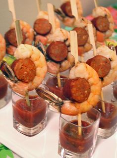 pFor the Mad Men-inspired party menu, I was trying to figure out a more flavorful and beautiful take on the retro classic shrimp cocktail. I love shrimp paired with sausage, so I didnt even have to think about it that long.  And everything is more beautiful (and more fun) on /p