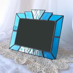 Stained Glass Picture Frame iridescent aqua turquoise by Glasserie, $30.00