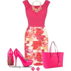"""Pink"" by Oribeauty cosmeticos on Polyvore..... A little too much pink. I'd go with nude pumps."
