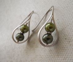 New to BeadsStory on Etsy: Simplicity Drop Earrings Silver Earrings Green tone pearls Wedding jewelry Bridal Gift Free Shipping Dangle Tear drop 17.00 USD
