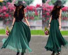 Chiffon Maxi Skirt-Spring Long Skirt Maxi Dress Silk Skirt Summer Beach Skirt In Jade green-WH097 105cm on Etsy, $35.99