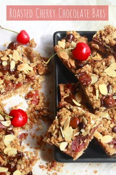 Chewy, crunchy wholewheat oat bars filled with roasted cherries, milk chocolate and dark chocolate chips!