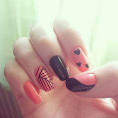 #nail #nails #nailart #black #pink