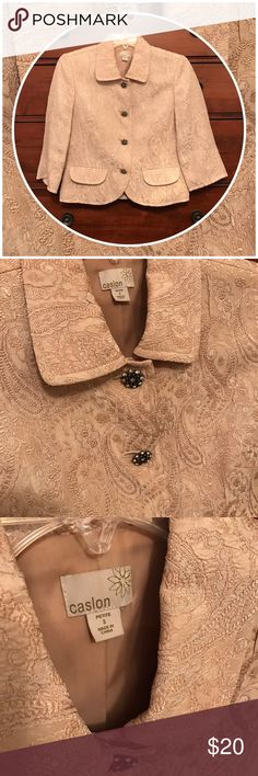 Creams and beiges in an evening jacket Beautiful.  Looks fabulous with a black pencil skirt.  The buttons! 😍.  Perfect condition.  Some shimmer in the fabric.  Priced to sell for moving sale! Caslon Jackets & Coats Blazers