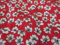 Red-Grey-Flowers-Floral-100-Viscose-Summer-Printed-Dress-Fabric