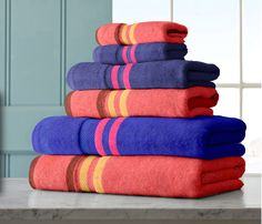Multi colou cotton towels.