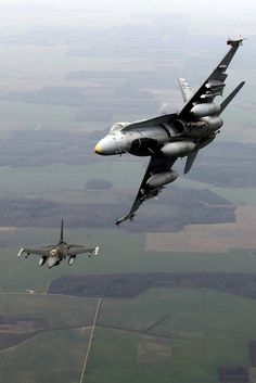 Royal Canadian Air Force McDonnell-Douglas Hornet and Portuguese Air Force General Dynamics Block 15 MLU Fighting Falcon Military Jets, Military Aircraft, Fighter Aircraft, Fighter Jets, Drones, Air Force, Reactor, F 16, Jet Plane